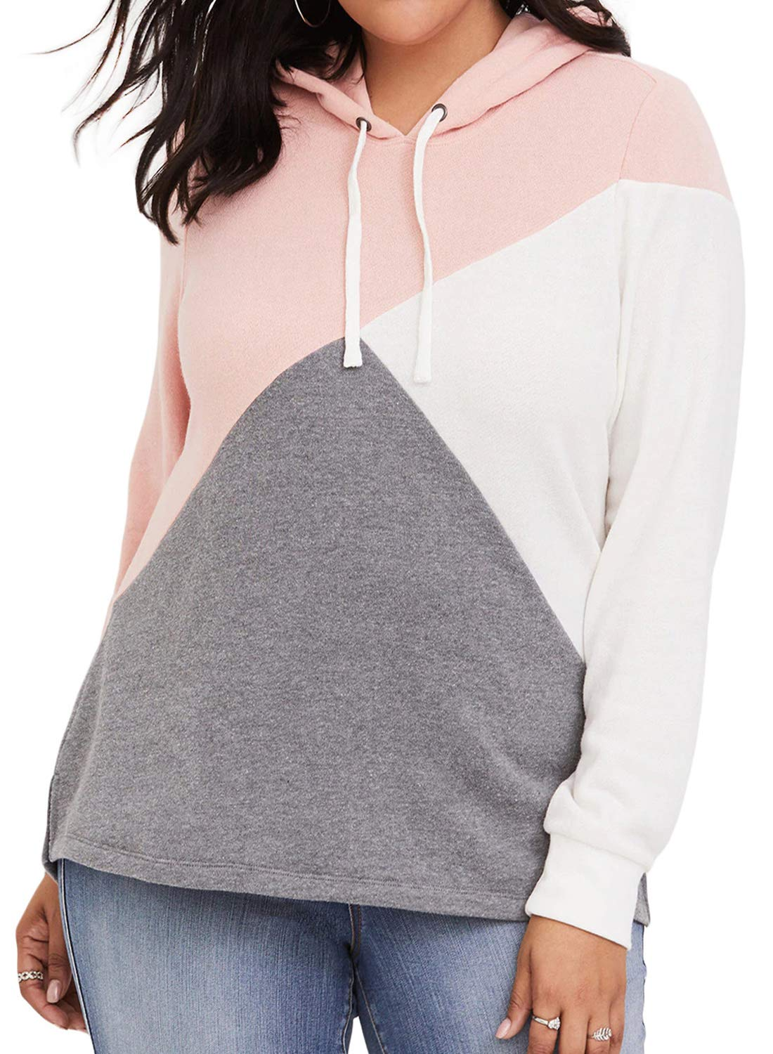 Dearlove Womens Long Sleeve Color Block Plus Size Hoodies Drawstring Hooded Sweatshirts Tunic Pullover Tops Jacket Oversized Outwear Pink 3X
