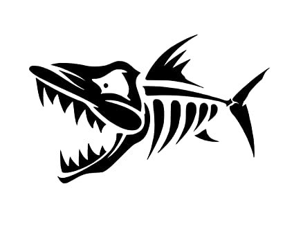 amazon com fish skeleton clipart vinyl sticker decal 6 x 3 7 rh amazon com fish skeleton clipart fish skeleton clipart vector