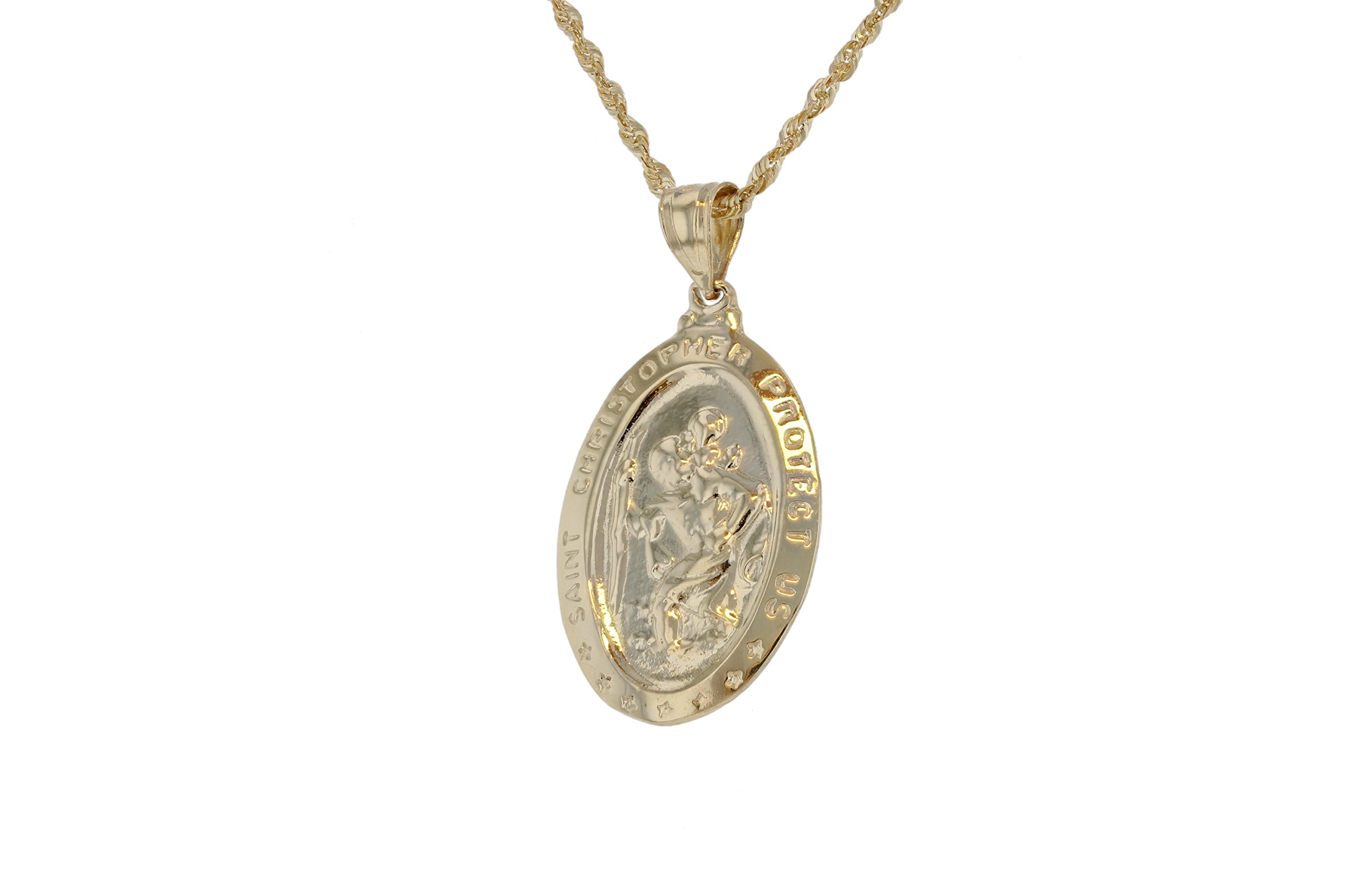10k Yellow Gold Religious Christian St. Christopher with the Christ Child Oval Medallion Pendant (Large) by Glad Gold (Image #3)