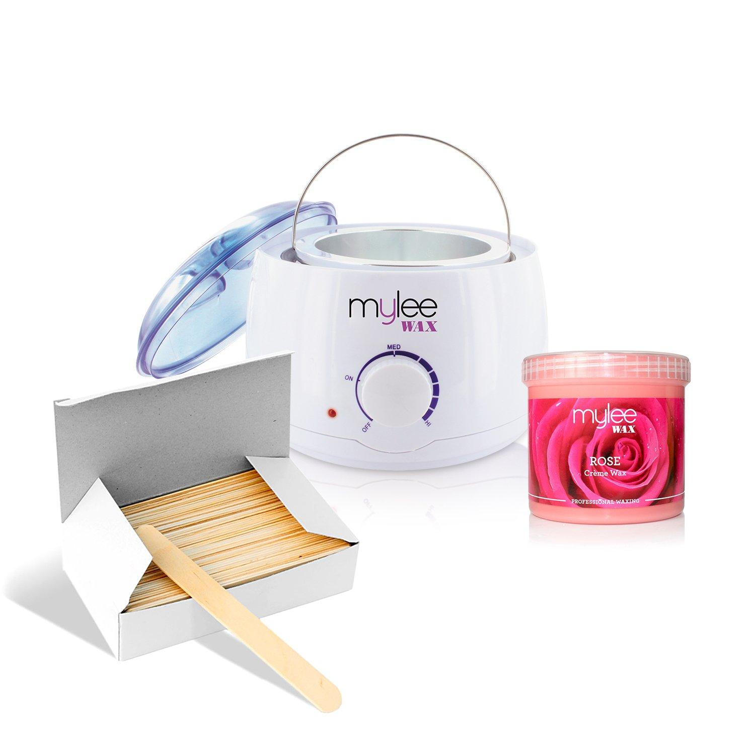 Mylee White Thermostatic Control Wax Heater & Mylee 450g Rose Soft Wax Kit NEW Just Beauty
