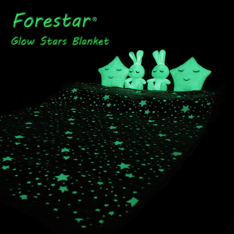Forestar Glow in The Dark Throw Blanket, Birthday Gift for Kids Boys Girls Toddlers, Premium Super Soft Fuzzy Fluffy Plush Furry Throw Blanket (50'' x 70'' Gray) by Forestar (Image #3)