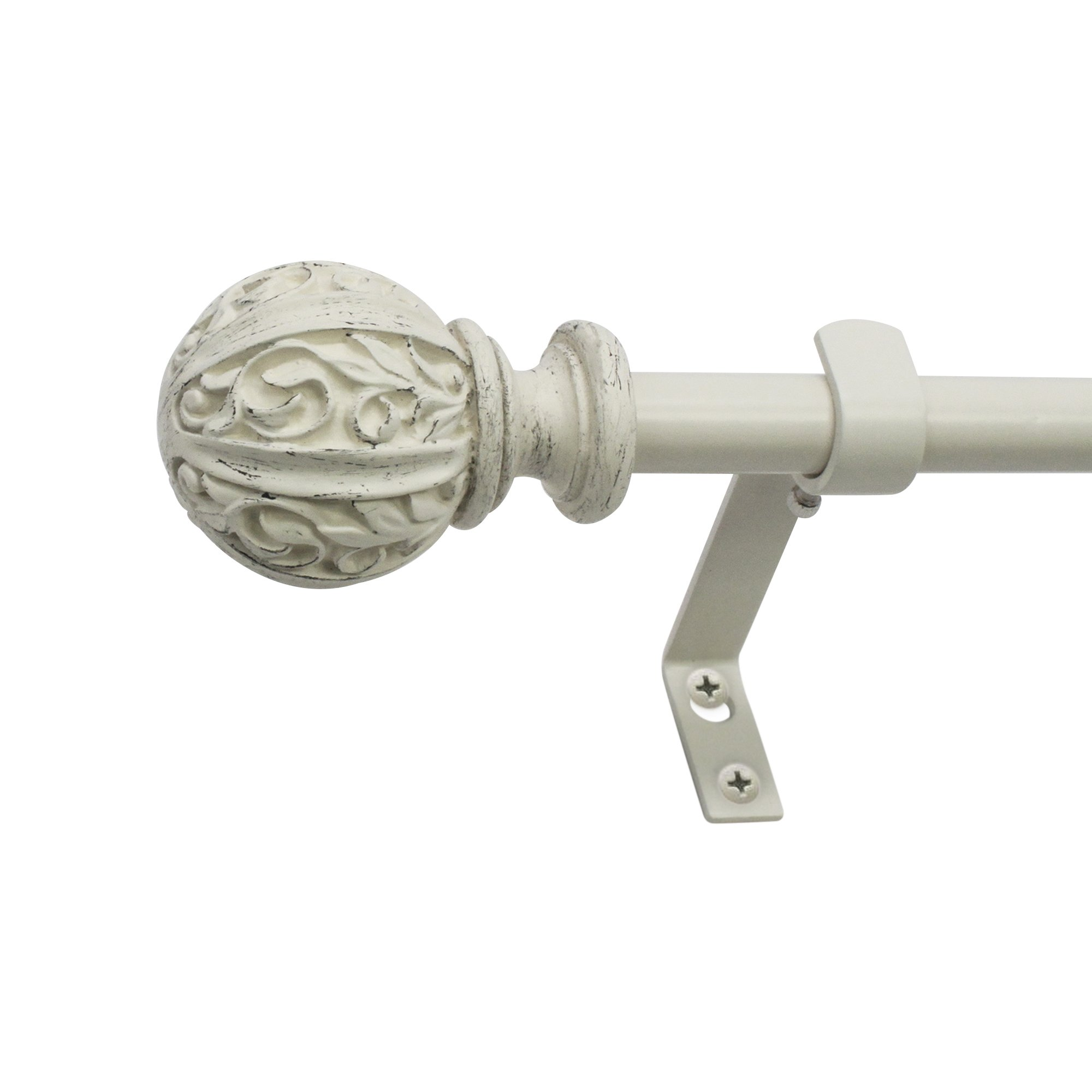 Montevilla Leaf Ball Curtain Rod, Distressed White, 26-48''