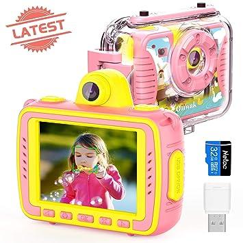 Oiiwak Kinderkamera Geschenk Für 4 12 Jährige Mädchen 8mp 1080p Wasserdicht Digitalkamera Stoßfest Action Kamera Selfie Kamera Mit 32g