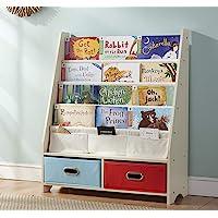 SEIRIONE Kids Book Rack, 4 Sling Bookshelf, 2 Storage Boxes and Toys Organizer Shelves, Beige