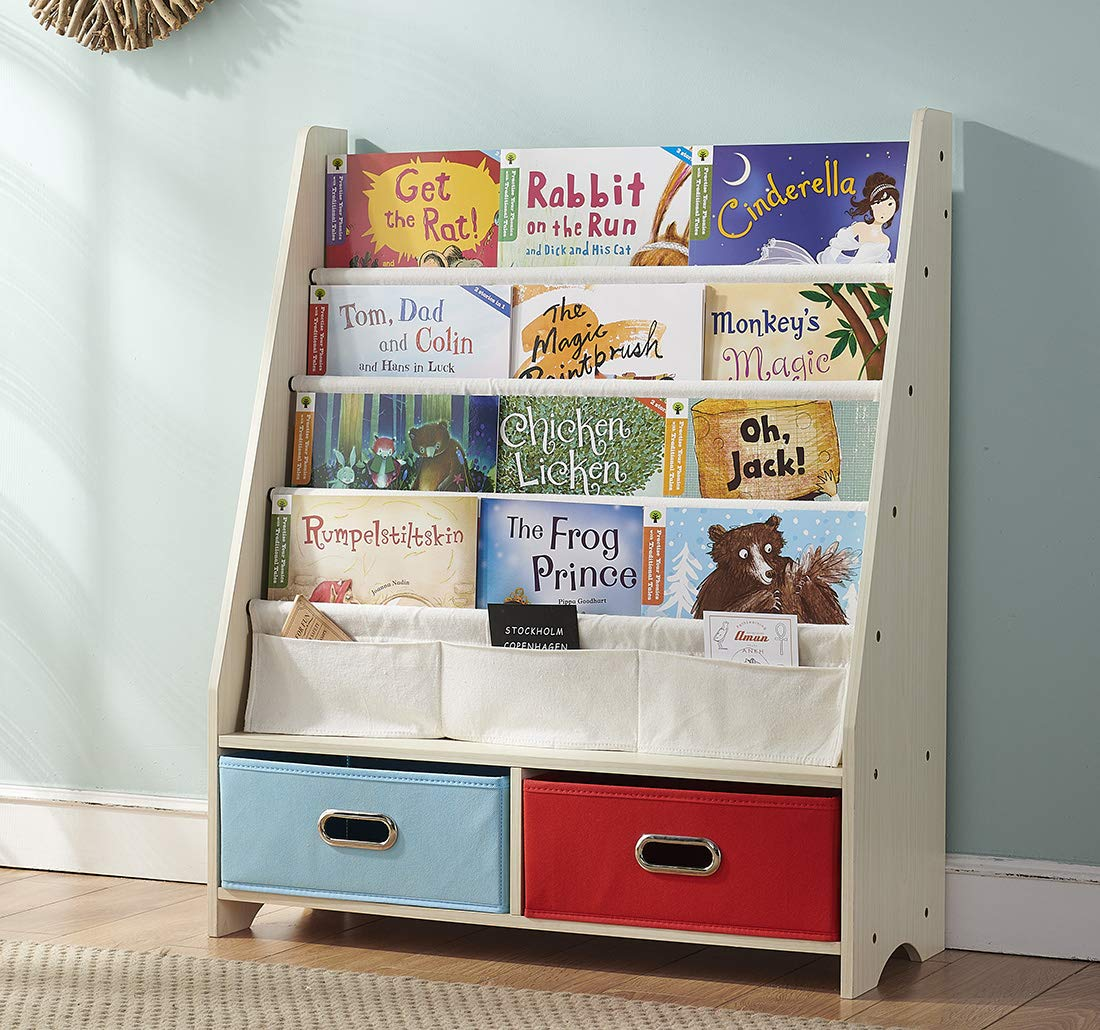 SEIRIONE Kids Book Rack, 4 Sling Bookshelf, 2 Storage Boxes and Toys Organizer Shelves, Beige, 1 Year Warranty