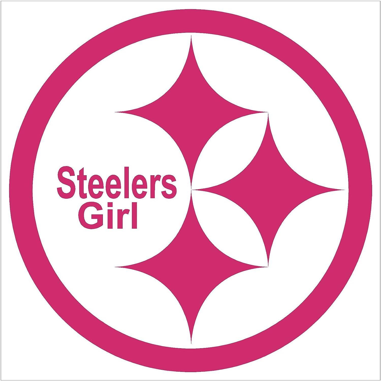 Amazon com pittsburgh steelers girl emblem car window decal sticker raspberry pink 5 automotive