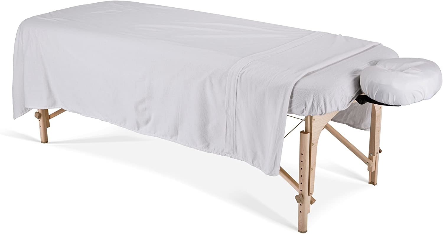 EARTHLITE Flannel Massage Table Sheet Set ESSENTIALS – Commercial Grade, Soft, Double-Napped 3-Piece Set (Top, Fitted, Face Pillow Cover) (UPDATED), White (44356): Sports & Outdoors