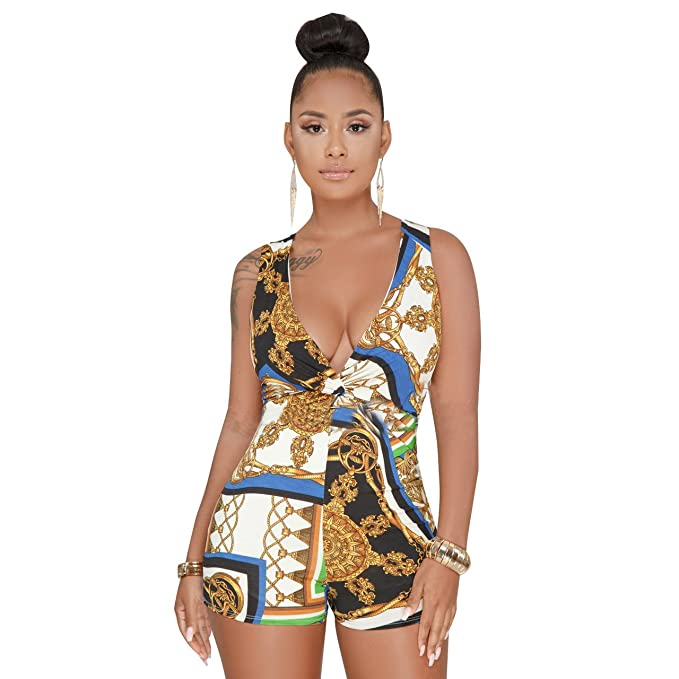 da788a71bb8 Amazon.com  Short Strapless Rompers for Women Pants Beach Sexy Plus Size  Jumpsuits Elegant Print Crop Top Casual Summer Blue M  Clothing