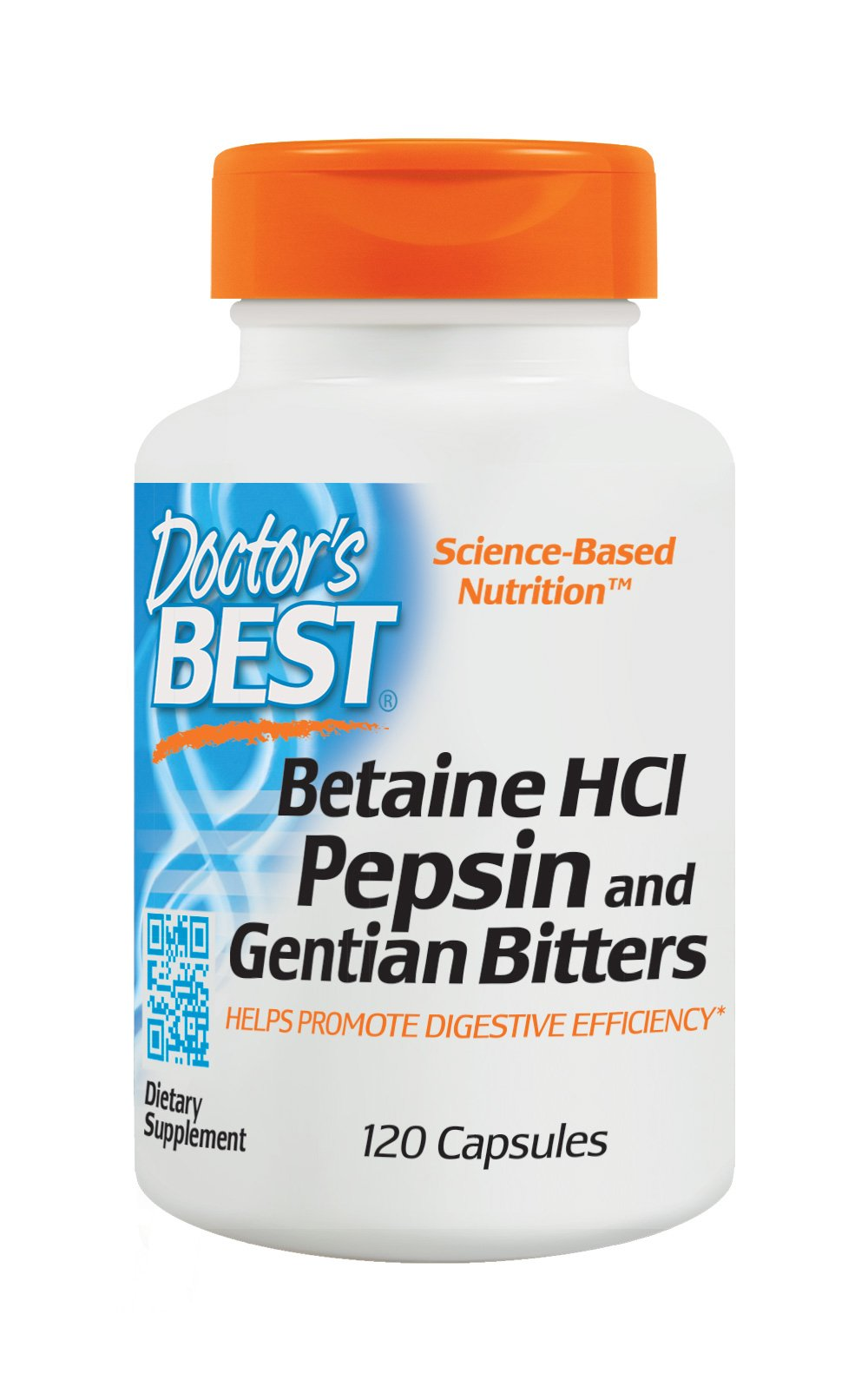 Doctor's Best Betaine HCI Pepsin and Gentian Bitters, Non-GMO, Gluten Free, Digestion Support, 120 Caps