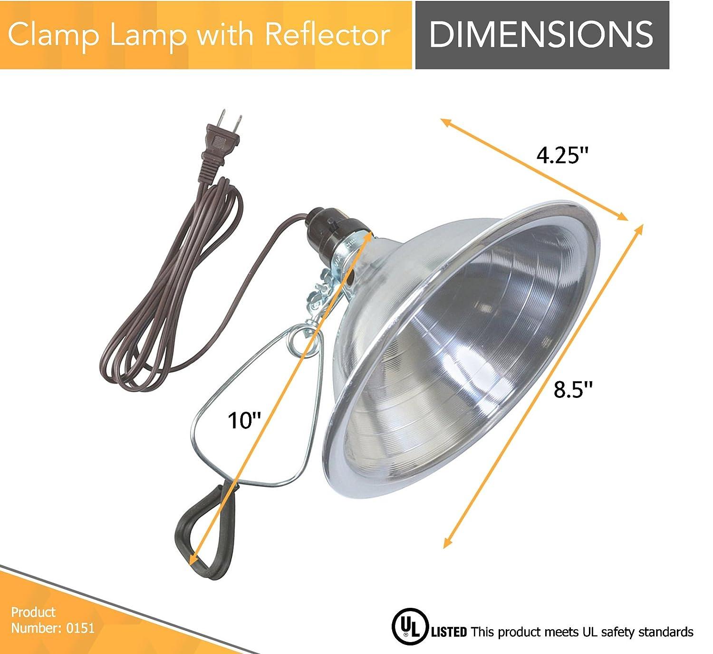 6-Foot, 18//2 Gauge Coleman Cable 0328 Woods 150-Watt Brooder Clamp Lamp With Porcelain Socket