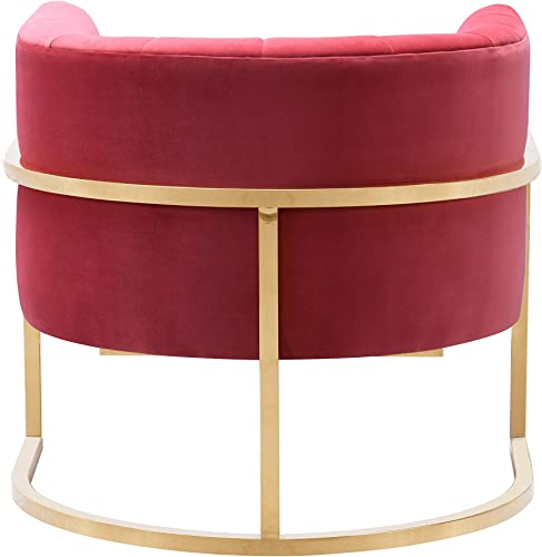 TOV Furniture The Magnolia Collection Modern Living Room Accent Chair, Hot Pink Gold