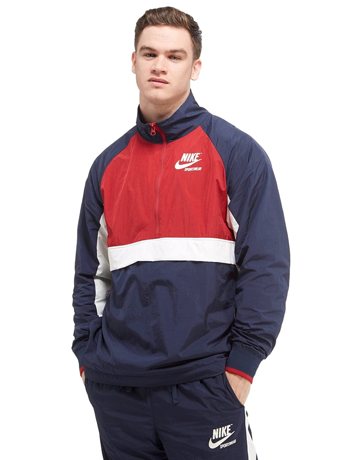 c8140e445acc Amazon.com  NIKE Men s Half Zip Woven Archive Athletic Rain Jacket Obsidian Tough  Red Sail 921743-451 (Large)  Sports   Outdoors