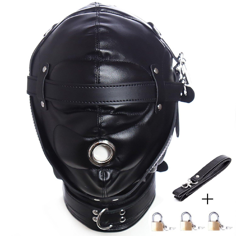 Leather Costume Head Mask Hood Full Face Lacing Unisex Halloween Masquerade Mask