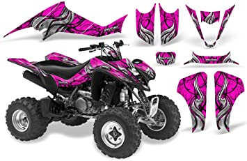 Wholesale Decals ATV Graphics kit Sticker Decal Compatible with Suzuki LT-Z400 QuadSport 2003-2008 Pink Flames