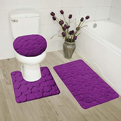 GorgeousHome(ROCK) New Bathroom Collection 3PC Set Memory Foam Bath Mat  Contour Rug And