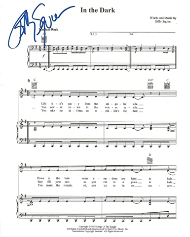 Billy Squier REAL hand SIGNED In The Dark sheet music COA