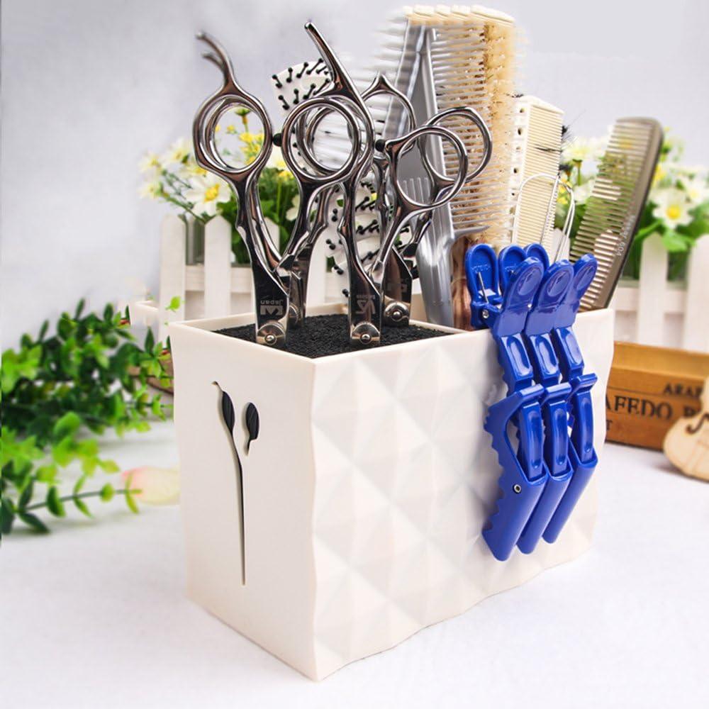 MissLytton Professional Salon Scissors Holder Rack, Hairdresser Scissor Storage Case Keeper, Modern Hairdressing Combs Clips Desktop Desk Organizer Accessories for Hair Stylist Office Home - White