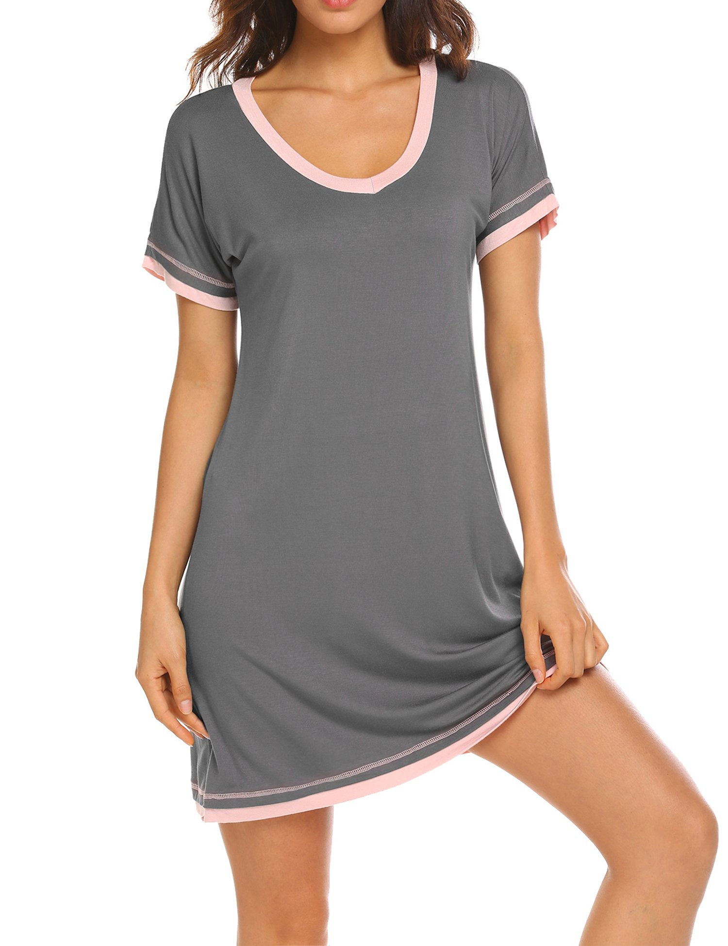 Dolay Sleep T Shirt Lady Cotton Knit Night Wear Gowns Pajama Dresses (Gray, Small)