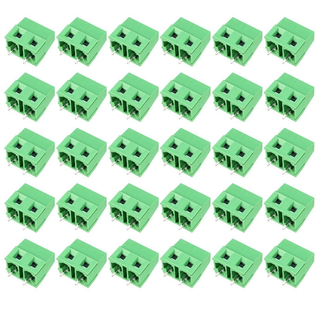 uxcell 20Pcs AC300V 10A 7.5mm Pitch 2P Flat Angle Needle Seat Insert-in PCB Terminal Block Connector Blue