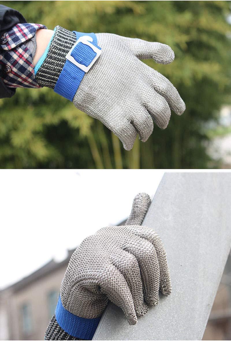 ThreeH Gants de protection pour la coupe Hachoir Tranchage de la viande Traitement des gants en acier inoxydable r/ésistant aux coupures GL09 L 1 pi/èce