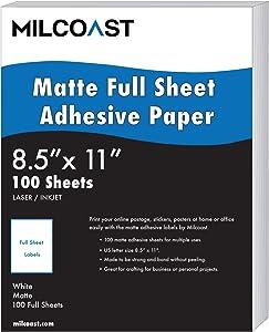 Milcoast Full Sheet 8.5 x 11 Matte Adhesive Sticker Paper Labels for Laser/Inkjet Printers (100 Full Sheet)