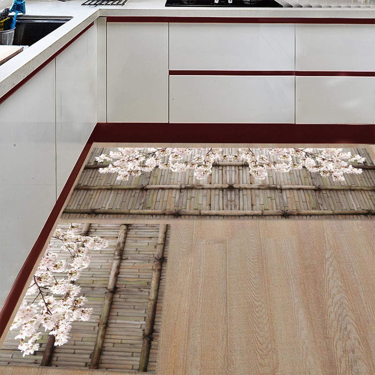Prime Leader 2 Piece Non-Slip Kitchen Mat Runner Rug Set Doormat Bamboo Door and Cherry Blossom Door Mats Rubber Backing Carpet Indoor Floor Mat 23.6 x 35.4 23.6 x 70.9