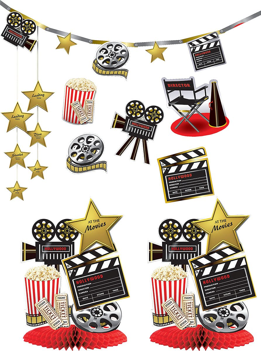 Unisex Room Decoration Hollywood Premiere Popcorn Party At The Movies Decor Kit by Bristol Novelty (Image #1)