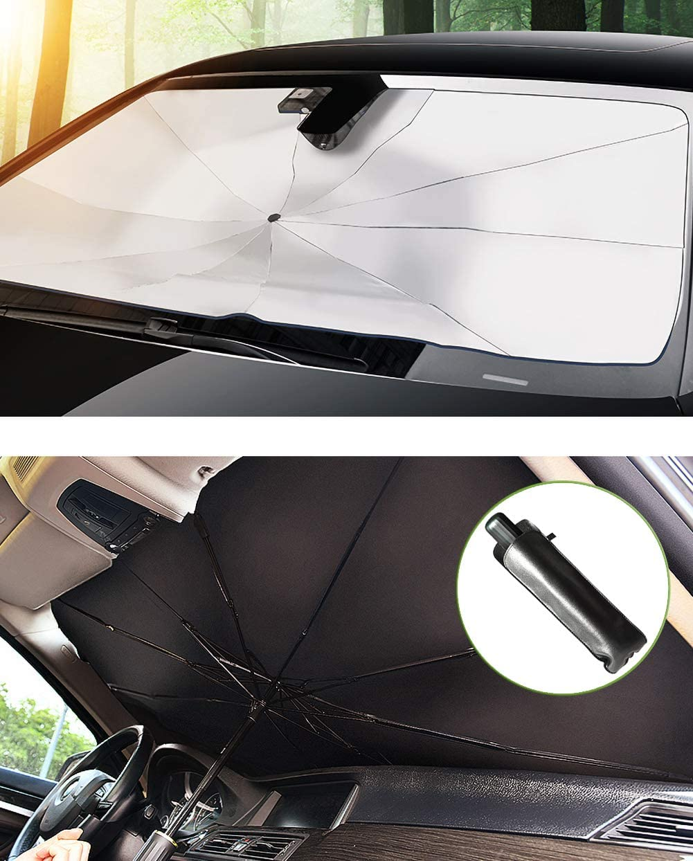 Large Mplerven Car Windshield Sunshades Auto Sunshade Cover Anti-UV Rays Keep Vehicle Cool and Without Damage Suitable for Windshields of Various Sizes