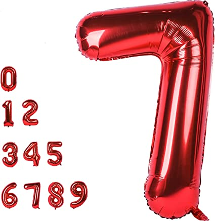 CHANGZHONG 40 Inch Giant Helium Foil Number 0 to 9 Red Balloon Birthday Wedding Party Digital Decorations Number 0