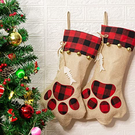 Cat Christmas Stocking Red Fish Shape with Brown Cat Kitty Kitten