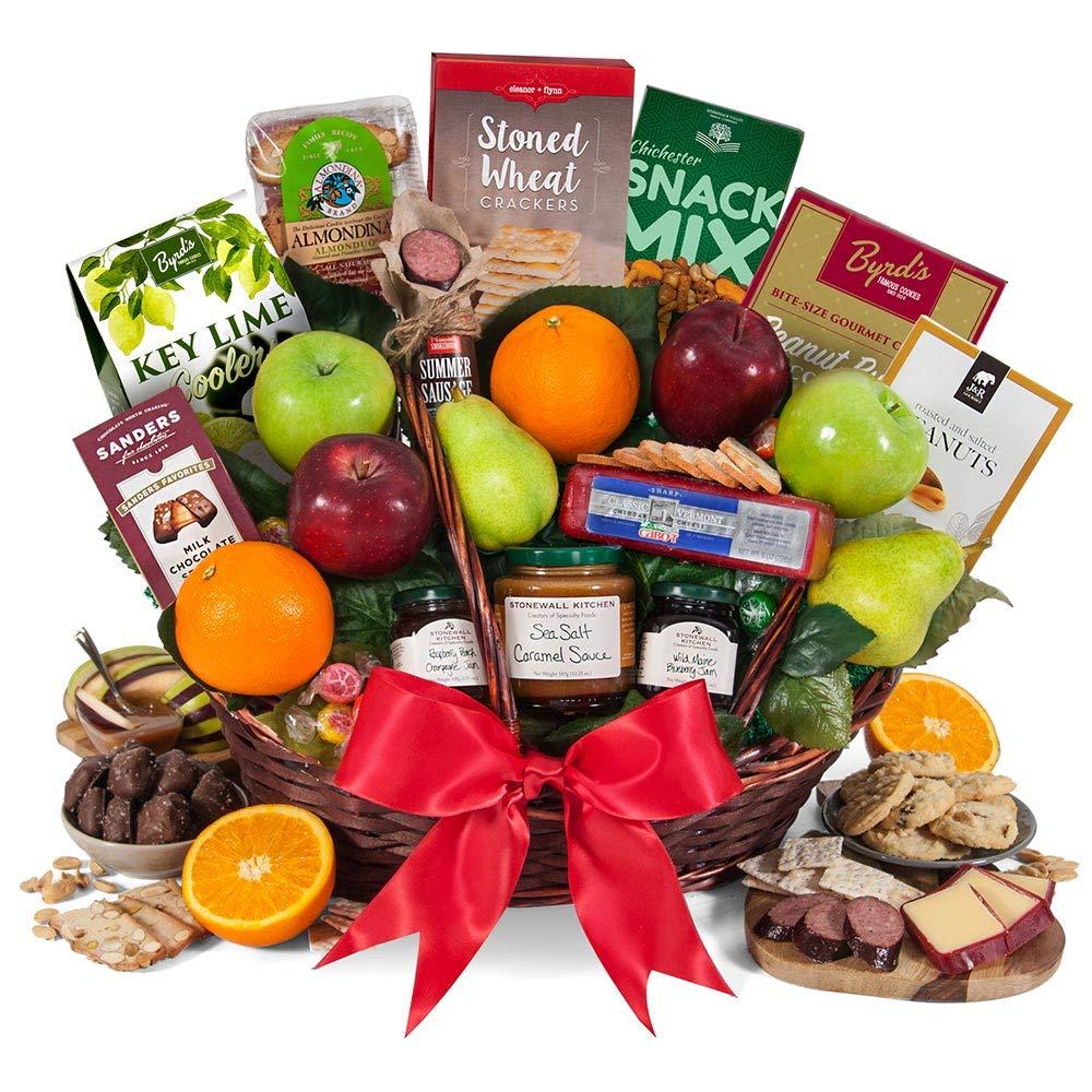 GourmetGiftBaskets.com Deluxe Fruit Basket - Gourmet Gift Baskets Prime - Fruit Gift Baskets - Food Gift Baskets Prime - Birthday, Christmas, Sympathy, Men, Women, Family