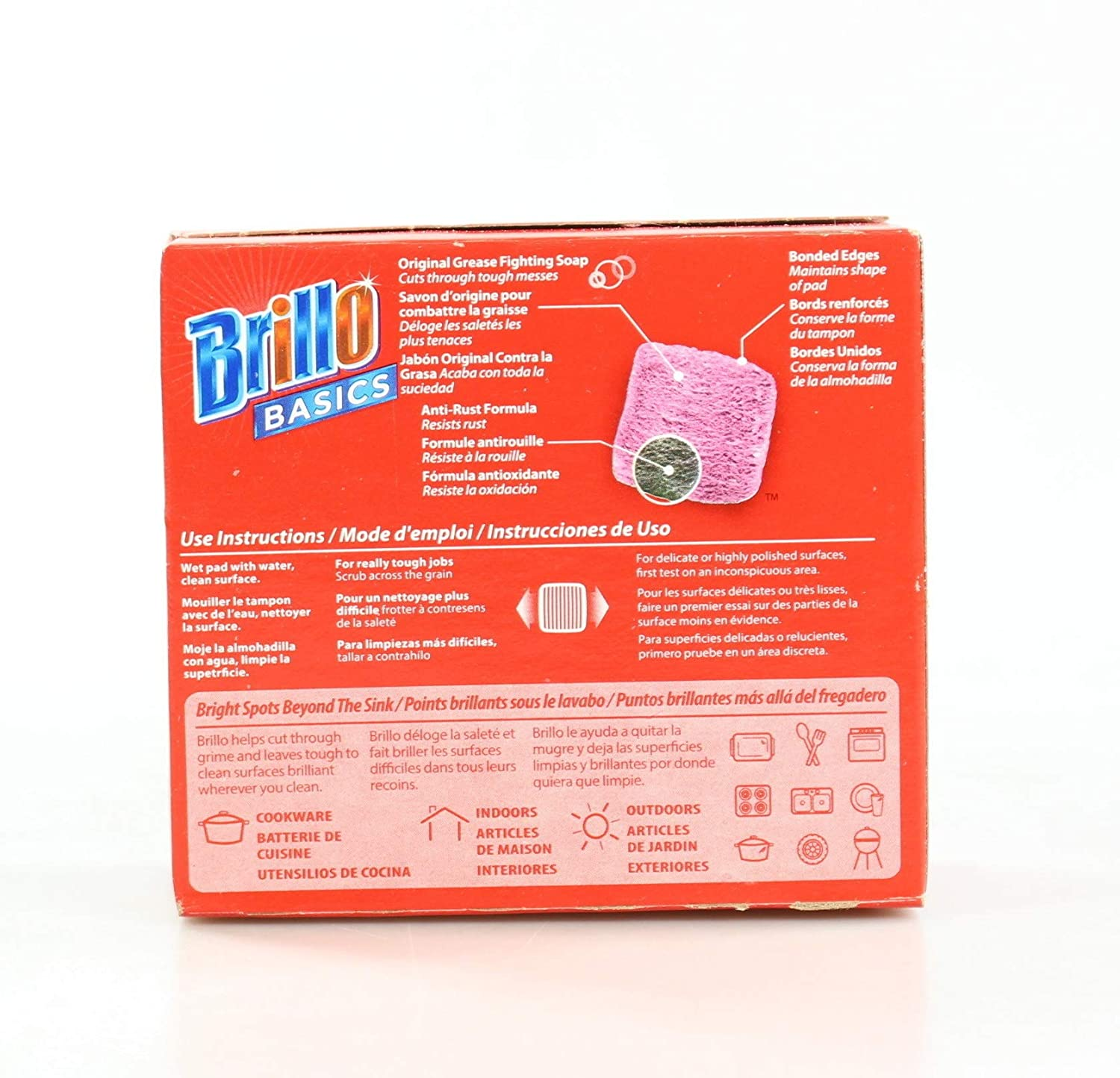 Amazon com brillo basics steel wool scrub pads 8 ct box home kitchen
