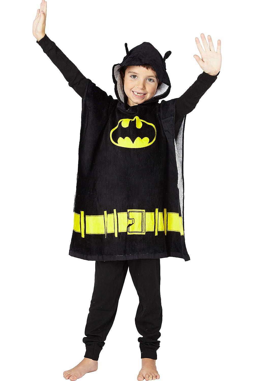 DC Comics 'Batman' Bat Logo Superhero Hooded Bath Beach Swim Poncho Towel, Black, 4-7 DC Comics Kids Sleepwear 018039