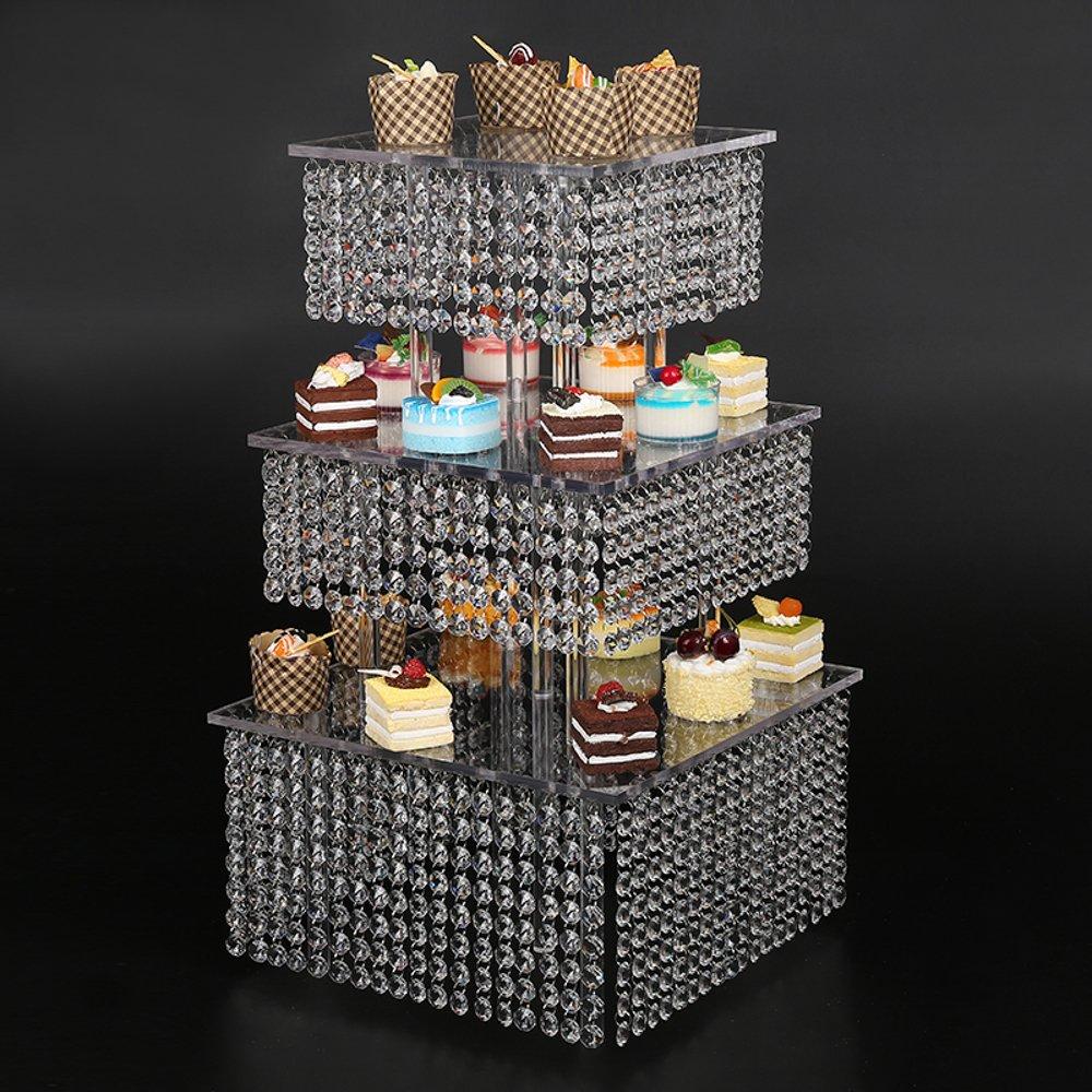 3 Tier Round crystal Wedding Dessert Server Cake Stand For Birthday Wedding Party Freestanding Style Cupcake Tower 160 Cupcakes Wedding Stand DIY Project