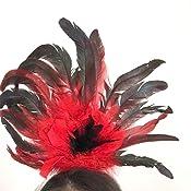 SMIFFYS Smiffys Cerchietto per Capelli Burlesque con Piume Donna Taglia unica 21043 Nero /& Rosso