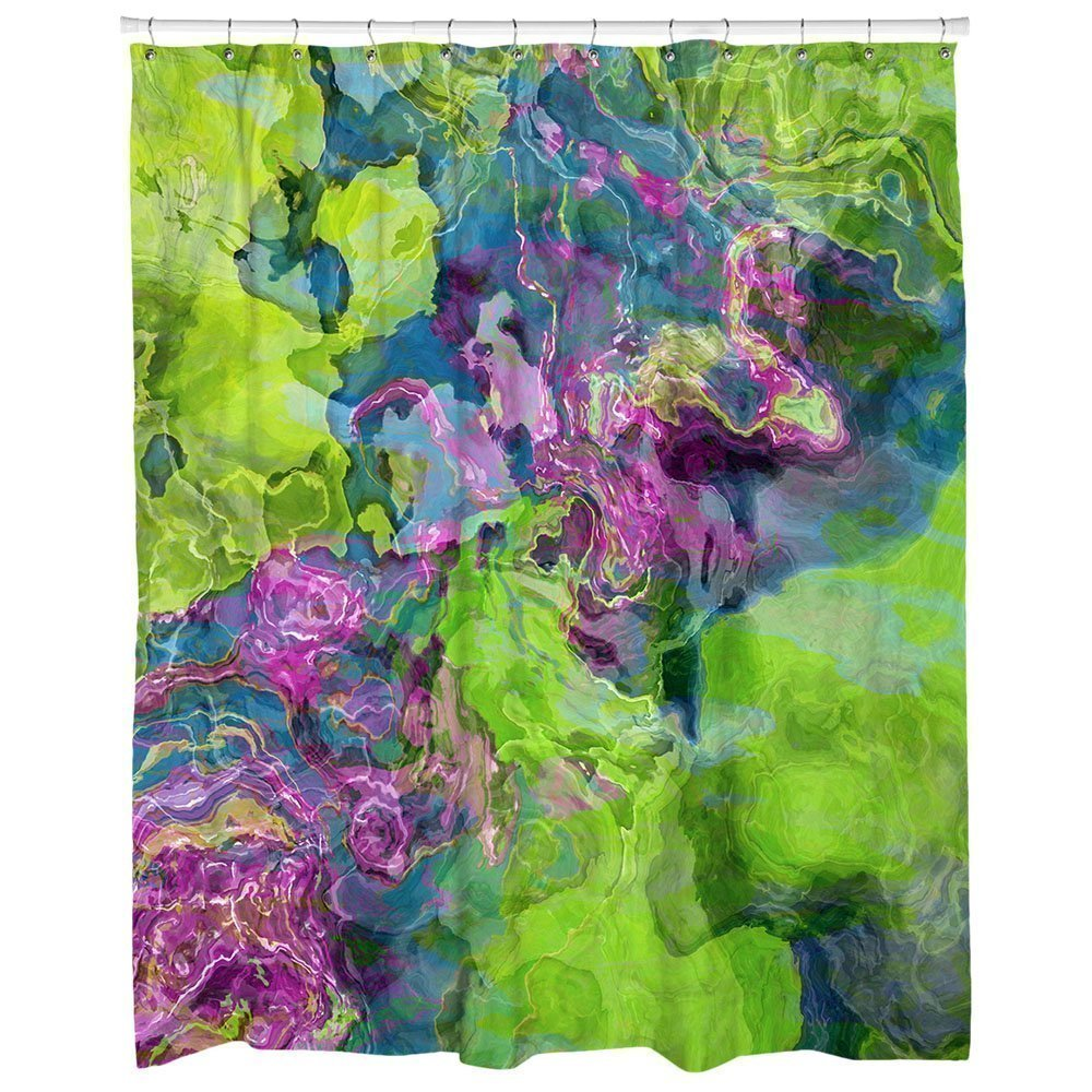 Abstract art bathroom decor, purple, blue and green shower curtain, Beautyberry
