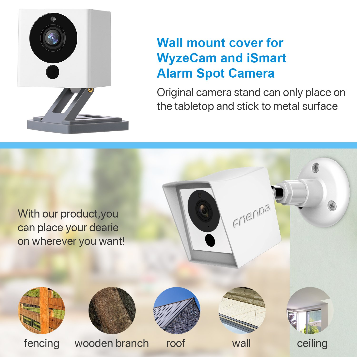 HOT Frienda 2 Pack Silicone Skin with Security Wall Mount.for Wyze Cam 1080p HD