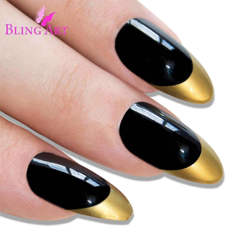 Uñas Postizas Bling Art Estilete Negro Oro Pulido 24 Almendra Largo Falsas puntas acrílicas con pegamento: Amazon.es: Belleza