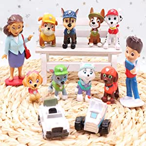 12PCS Paw Patrol Cake Topper, Cake and Cup Cake Topper, Paw Patrol Mini Toys, Children's Birthday Shower Party Supplies