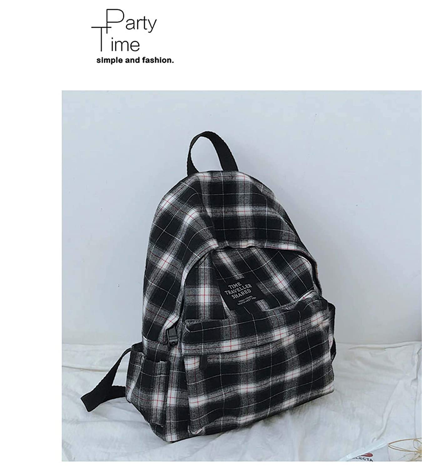 Juniors Checker Backpack Purse Womens Canvas Daypack Package Girls Daily Rucksack Ladies Shoulder Bags Mochilla White