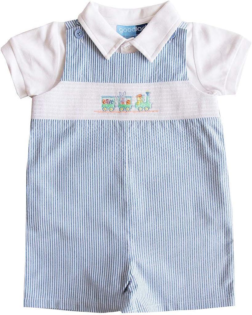 Good Lad Newborn//Infant Boys Blue Seersucker Smocked Shortall Set with Bunny Embroideries