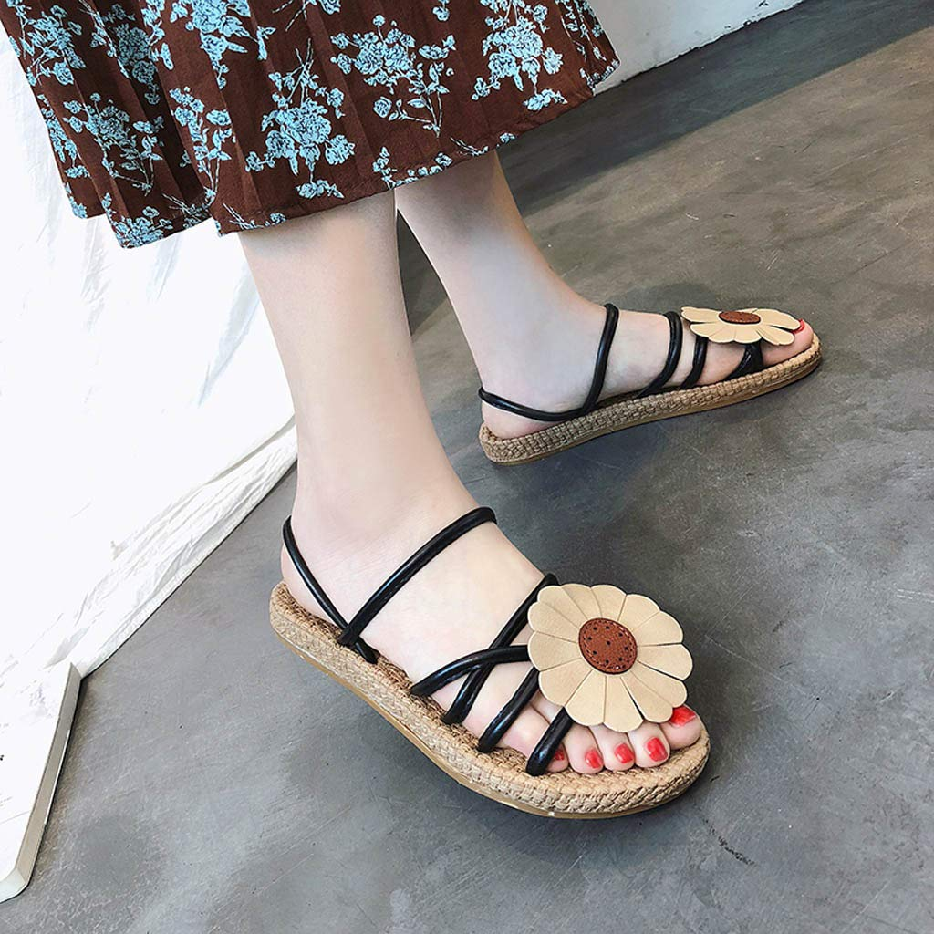 Lurryly Womens Elastic Strappy String Thong Ankle Sandals Flowers Retro Casual Flat Shoe