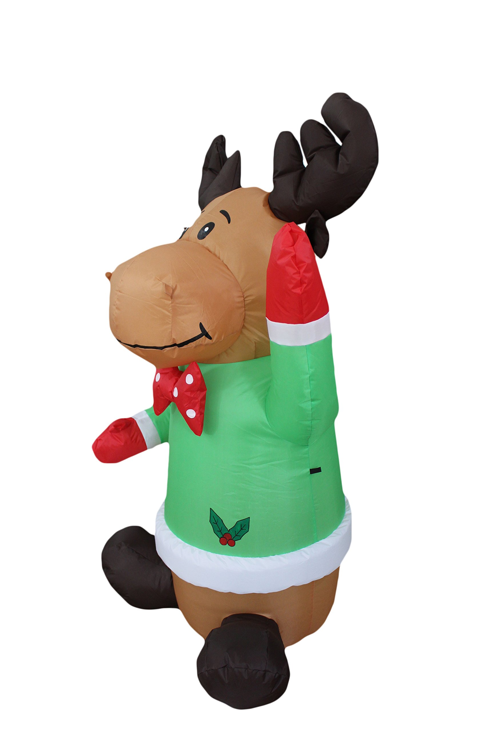 4 Foot Christmas Inflatable Sitting Reindeer Yard Blow Up Art Decoration