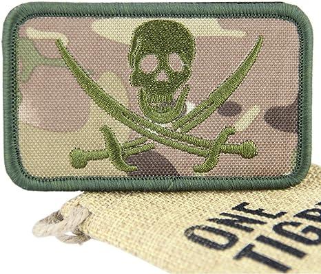 OneTigris - Parche de velcro con moral táctica militar, parche de calavera,