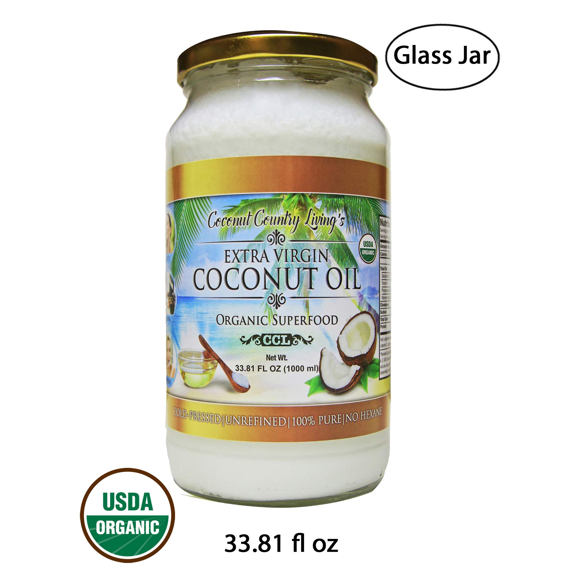 Organic Coconut Oil 33.81 Oz Extra Virgin Cold-Pressed for Hair, Skin, Beauty and Cooking by Coconut Country Living's
