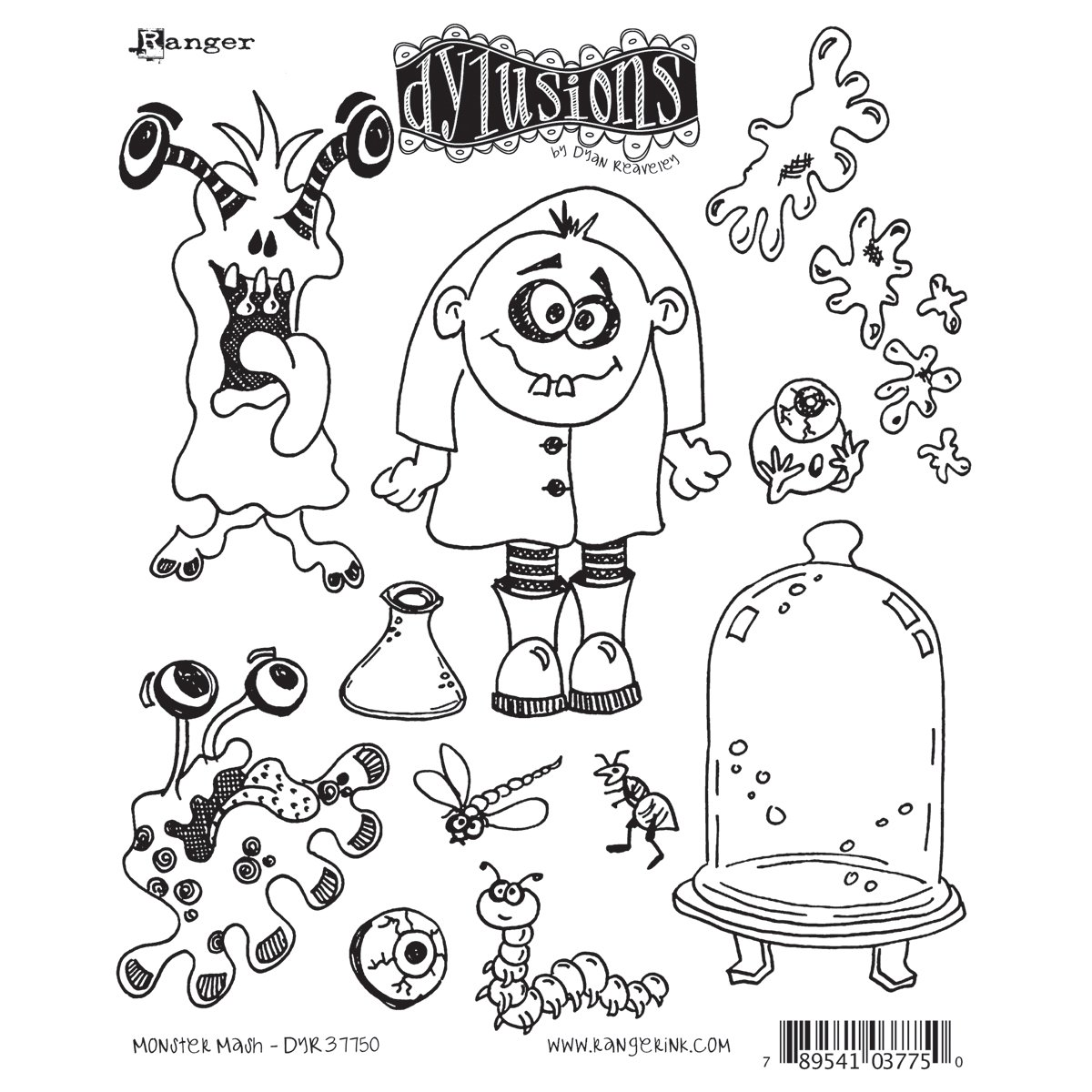 Ranger Dyan Reaveley's Dylusions Cling Stamp Collections, 8.5 by 7-Inch, Monster Mash
