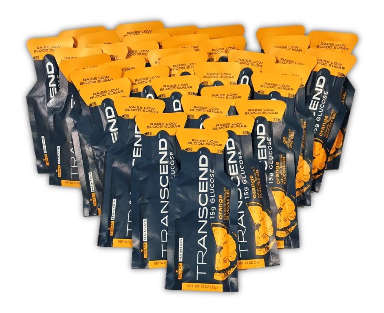 TRANSCEND Orange-Flavored Glucose Gels - 15gram packets (36)