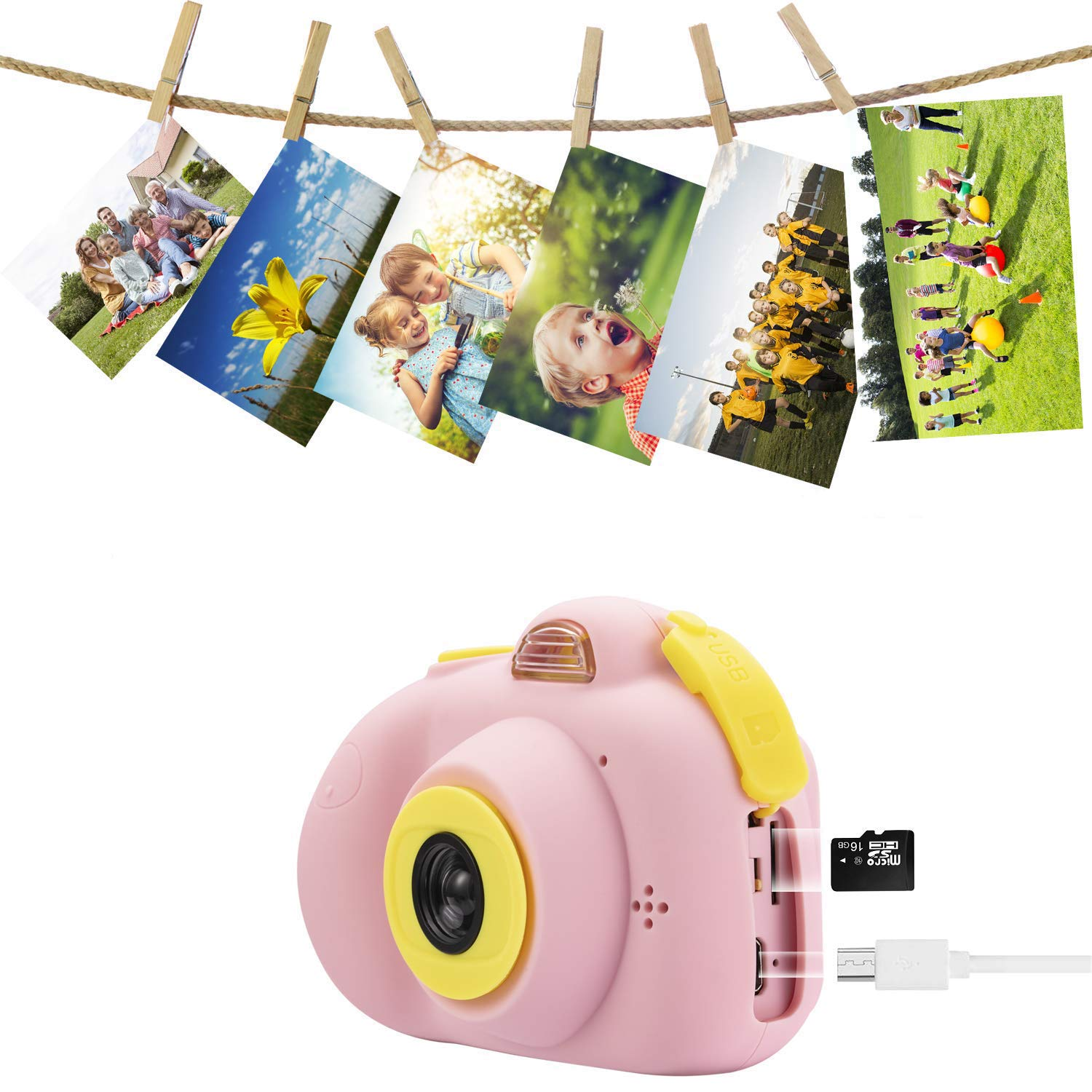Abdtech Kids Camera Video Cameras Gifts for Girls, Mini Rechargeable Children Shockproof Digital Camcorders Little Girl Toys Gift 8MP with Battery 2 Inch Screen 16GB SD Card ( Pink ) by Abdtech (Image #5)