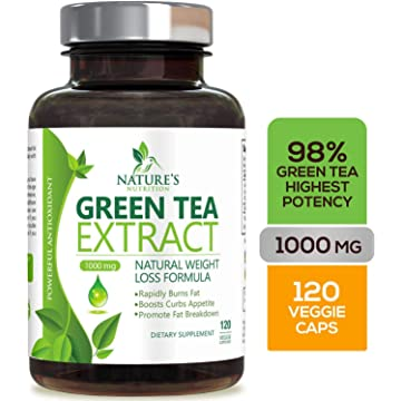 reliable Green Tea Extract 98% with EGCG for Weight Loss 1000mg - Boost Metabolism for Healthy Heart - Antioxidants & Polyphenols for Immune System - Gentle Caffeine - Natural Fat Burner Pills - 120 Capsules