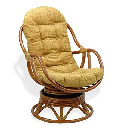 Surprising Amazon Com Brown Natural Rattan Wicker Handmade Swivel Spiritservingveterans Wood Chair Design Ideas Spiritservingveteransorg